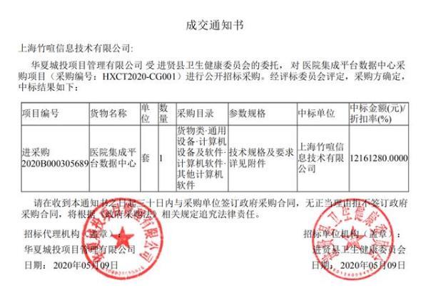 喜訊|中標1216萬醫療信息化業務-上海竹喧信息技術有限公司